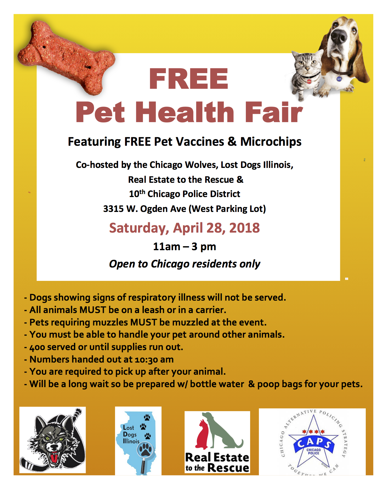 Free Pet Health Fair April 28 2018 10th Chicago Police District